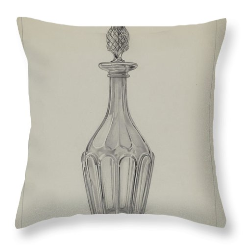 Throw Pillow featuring the drawing Glass Wine Decanter by Erwin Schwabe