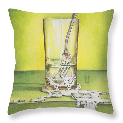 Bizarre Throw Pillow featuring the painting Glass with Melting Fork by Melissa A Benson