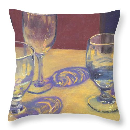 Glasses Throw Pillow featuring the painting Glasslights by Sharon E Allen