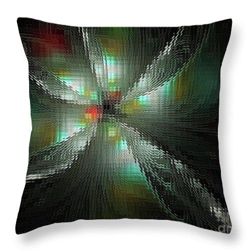 Fractal Throw Pillow featuring the digital art Glassworks Fractal by Deborah Benoit