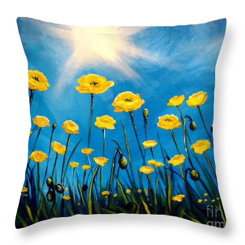 Poppies Throw Pillow featuring the painting Gleaming by Elizabeth Robinette Tyndall
