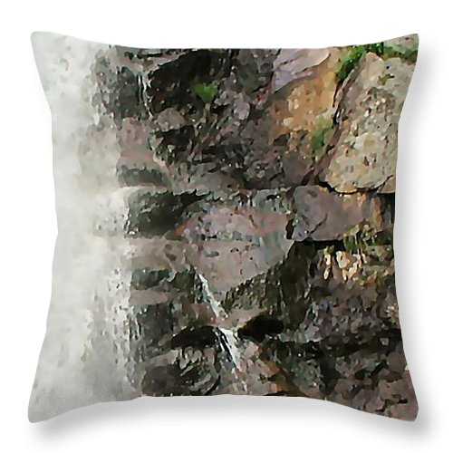 Waterfall Throw Pillow featuring the photograph Glen Falls Abstract by Dave Martsolf