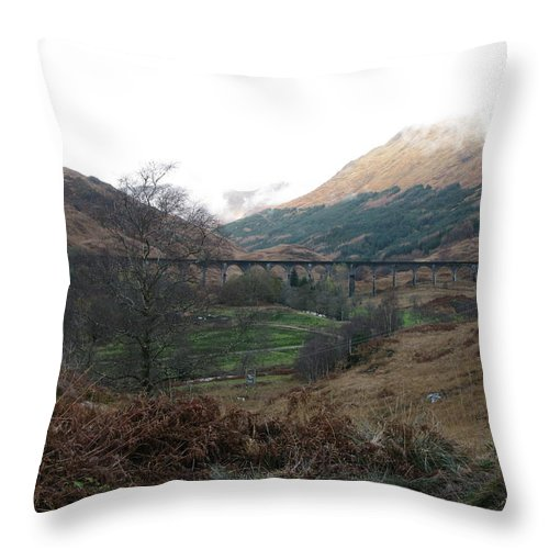 Harry Potter's Viaduct Throw Pillow featuring the photograph Glen Finnian Viaduct by Maria Joy