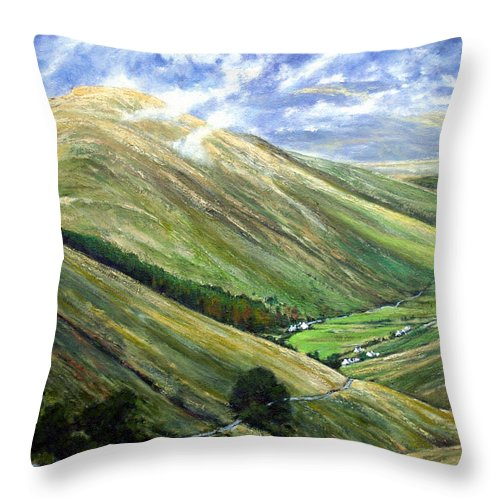 Landscapes Throw Pillow featuring the painting Glen Gesh Ireland by Jim Gola