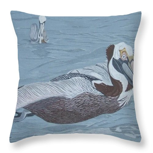 Pelican Throw Pillow featuring the painting Glider by Anita Putman