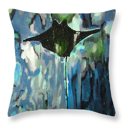 Stingray Throw Pillow featuring the painting Gliding Stingray by Heather Lennox