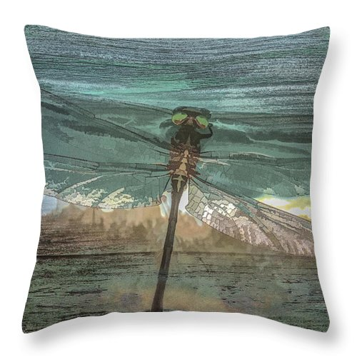 Dragon Throw Pillow featuring the photograph Glistening On Wood by Debra and Dave Vanderlaan