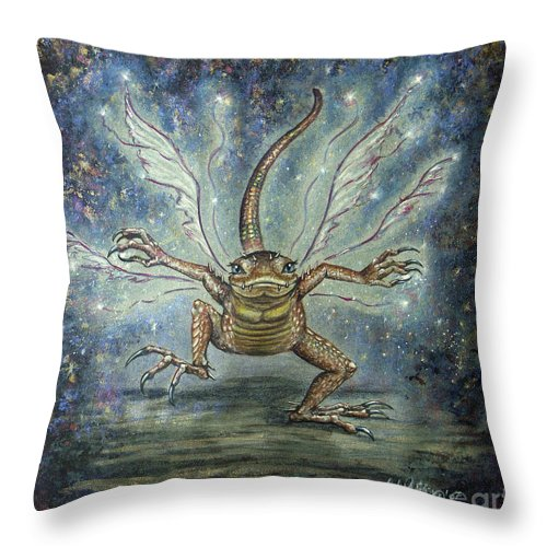 Fairy Throw Pillow featuring the mixed media Glitterkin by Carol Phillips