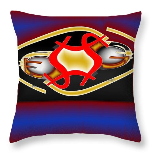 Dollar Throw Pillow featuring the digital art Global Dancing Round The Golden Calf by Helmut Rottler