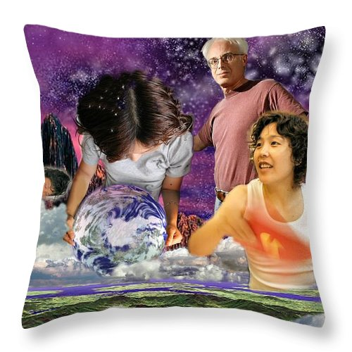 Landscape Throw Pillow featuring the digital art Global Dreaming by Dave Martsolf