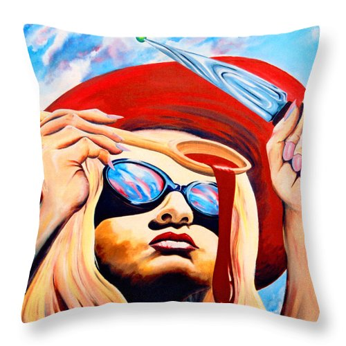Surreal Throw Pillow featuring the painting Global Food Distribution by Mark Cawood