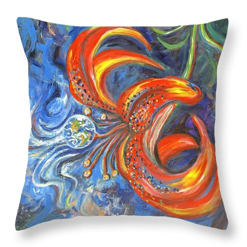 Flower Throw Pillow featuring the painting Global Lily by Linda Mears