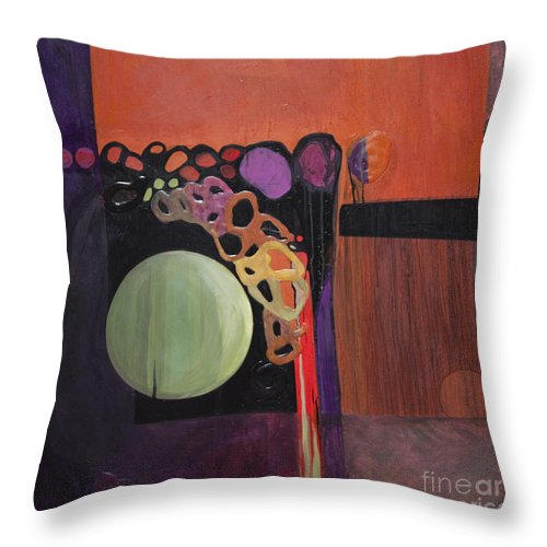Abstract Throw Pillow featuring the painting Globular by Marlene Burns