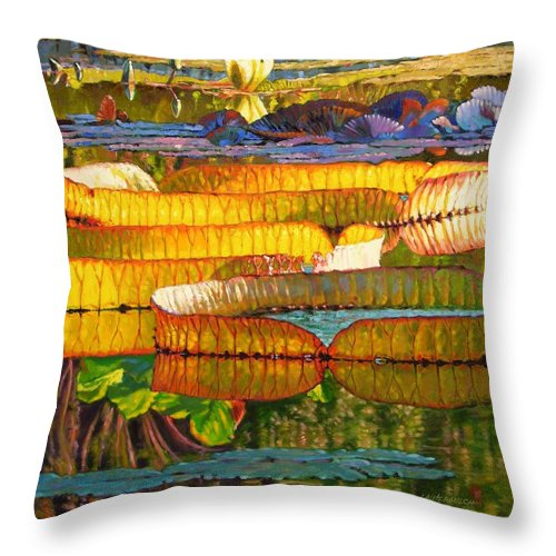 Sun On Lilies Throw Pillow featuring the painting Glorious Morning Lilies by John Lautermilch