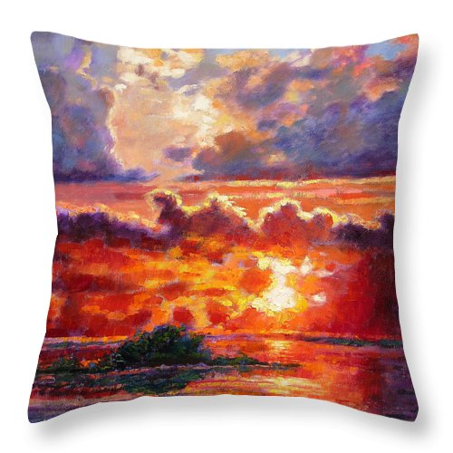 Sunset Throw Pillow featuring the painting Glorious Sunset by John Lautermilch