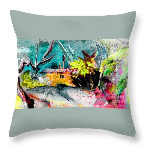 Pastel Painting Throw Pillow featuring the painting Glory Of Nature by Miki De Goodaboom