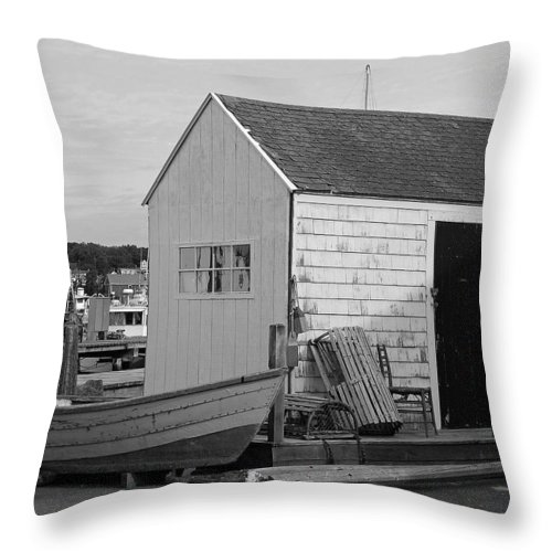 New England Throw Pillow featuring the photograph Gloucester Boathouse In Black And White by Suzanne Gaff