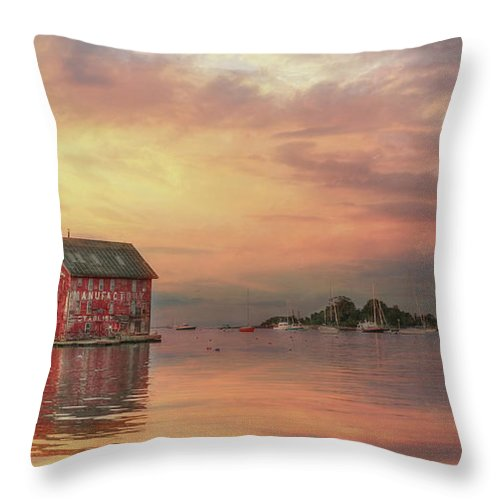 Gloucester Throw Pillow featuring the photograph Gloucester Copper Paint Manufactory by Lori Deiter
