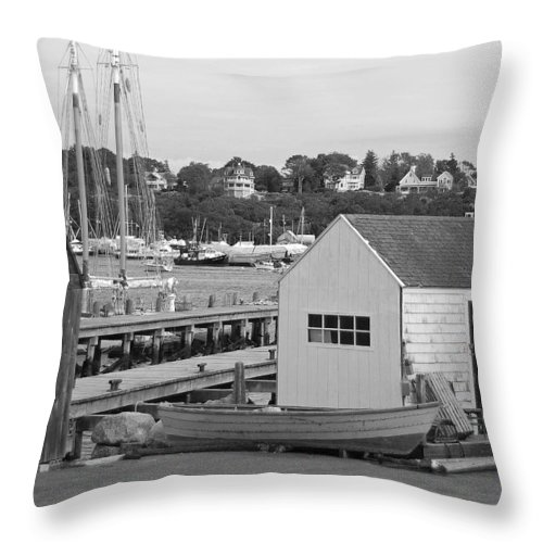 Gloucester Throw Pillow featuring the photograph Gloucester Harbor Scene In Black And White by Suzanne Gaff