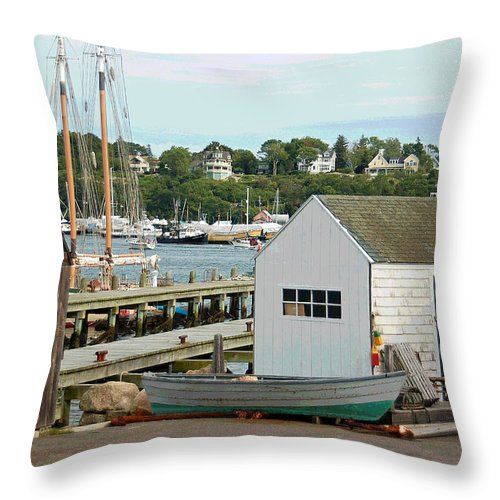 Gloucester Throw Pillow featuring the photograph Gloucester Harbor Scene by Suzanne Gaff