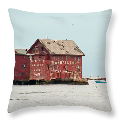 New England Throw Pillow featuring the photograph Gloucester Manufactory by Suzanne Gaff