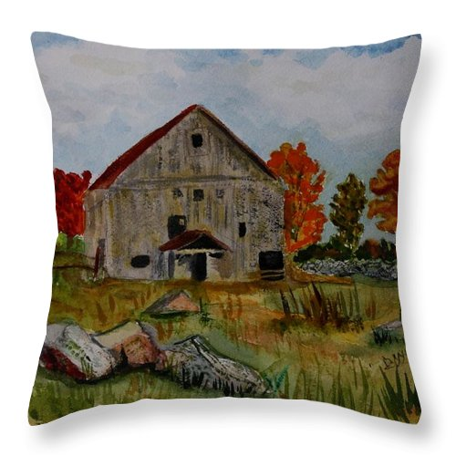 Glover Vt Throw Pillow featuring the painting Glover Barn In Autumn by Donna Walsh