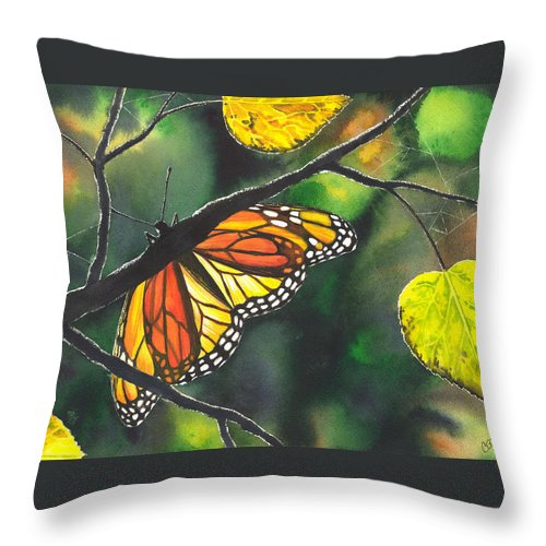 Butterfly Throw Pillow featuring the painting Glow by Catherine G McElroy
