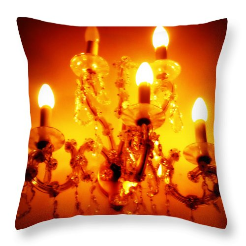 Chandelier Throw Pillow featuring the photograph Glowing Chandelier by Carol Groenen