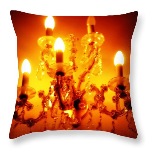Dining Room Decor Throw Pillow featuring the photograph Glowing Chandelier--companion Piece by Carol Groenen