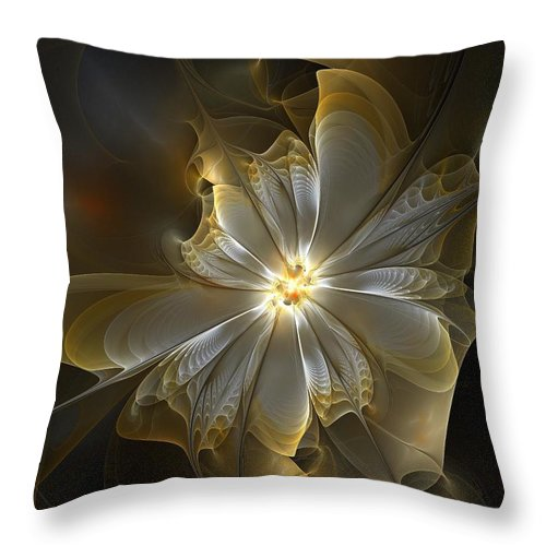 Digital Art Throw Pillow featuring the digital art Glowing In Silver And Gold by Amanda Moore