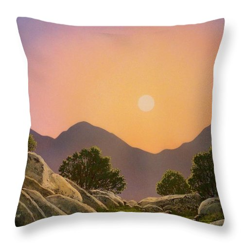 Mountains Throw Pillow featuring the painting Glowing Landscape by Frank Wilson