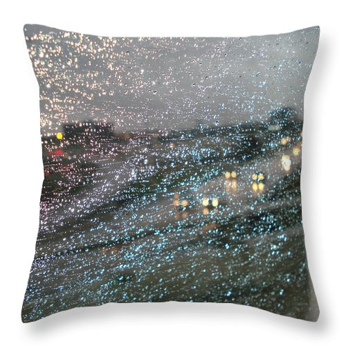 Usha Throw Pillow featuring the photograph Glowing Raindrops In The City by Usha Shantharam