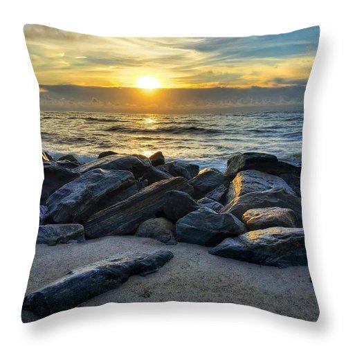 Beach Throw Pillow featuring the photograph Glowing Rocks by Juan Montalvo