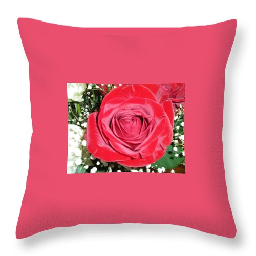 Red Throw Pillow featuring the photograph Glowing Rose by Lauren Powell