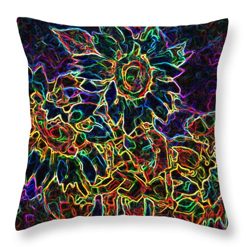 Sunflowers Throw Pillow featuring the digital art Glowing Sunflowers by Iliyan Bozhanov