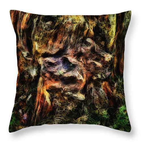 Tree Trunk Throw Pillow featuring the digital art Gnarled by Leigh Kemp