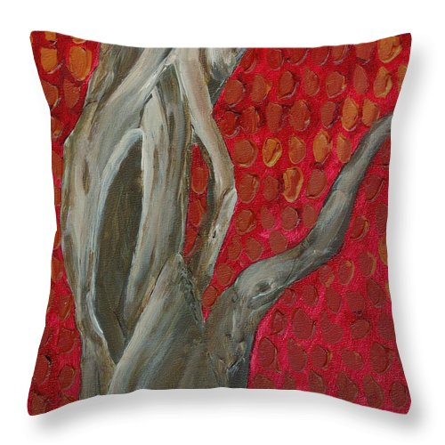Autumn Throw Pillow featuring the painting Gnarly Autumn Tree by Wanda Pepin