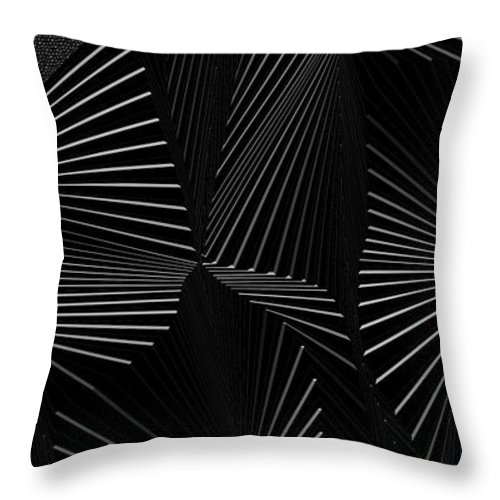 Dynamic Black And White Throw Pillow featuring the painting Gnimoceb by Douglas Christian Larsen