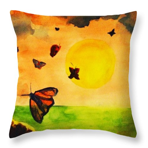 Gnome Throw Pillow featuring the painting Gnome And Seven Butterflies by Andrew Gillette