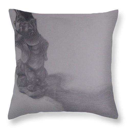 Gnome Throw Pillow featuring the drawing Gnome by Emily Young