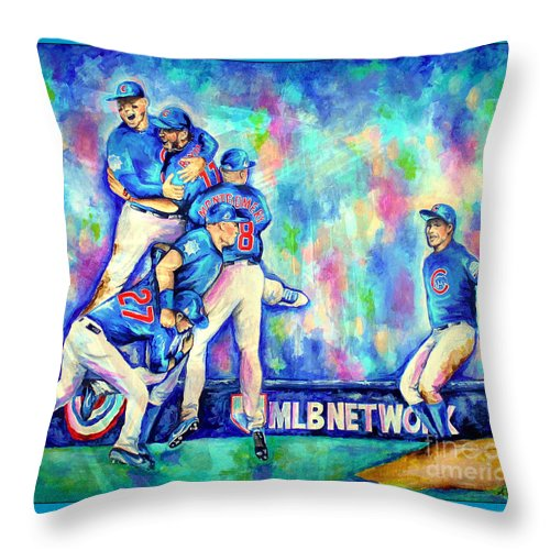 Cubs Throw Pillow featuring the painting Go Cubs Go by Amy Belonio