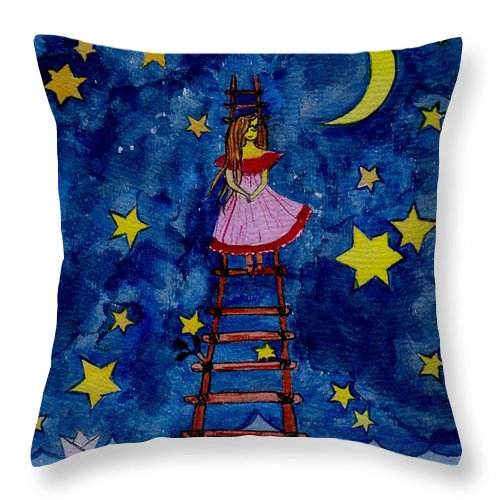 Sky Throw Pillow featuring the painting Go Down by Sweeping Girl