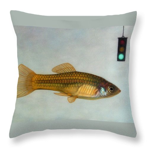 Fish Throw Pillow featuring the painting Go Fish by James W Johnson