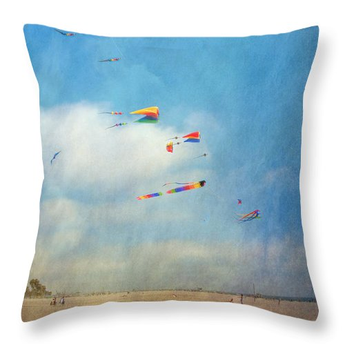 Go Fly A Kite Sand Windy Day Beach Throw Pillow featuring the photograph Go Fly A Kite by David Zanzinger