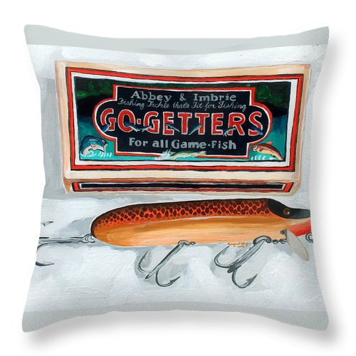 Fishing Throw Pillow featuring the painting Go Getters by Racquel Morgan