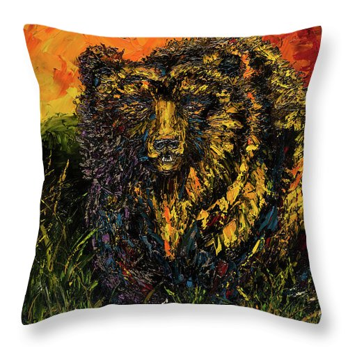 Grizzly Throw Pillow featuring the painting Go Griz by Jodi Monahan