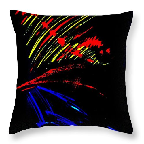 Red Throw Pillow featuring the painting GO by Jack Diamond