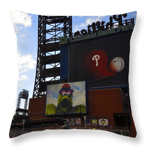 Sports Throw Pillow featuring the photograph Go Phillies - Citizens Bank Park - Left Field Gate by Bill Cannon