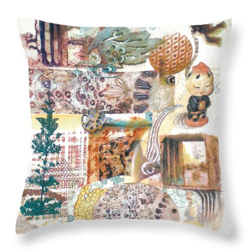 Abstract Throw Pillow featuring the painting Go With The Flow by Valerie Meotti