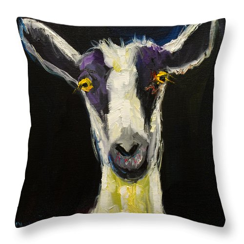 Goat Throw Pillow featuring the painting Goat Gloat by Diane Whitehead